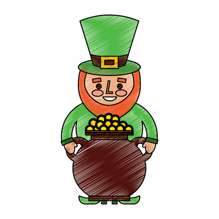 st patrick leprechaun holding pot full coins treasure vector illustration drawing image Ilustrace