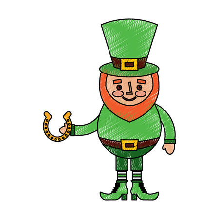 leprechaun holding horseshoe for luck traditional vector illustration drawing image Stock Vector - 95709654