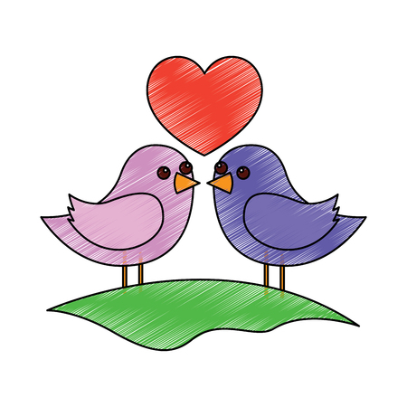 cute couple birds togehther with heart in the field vector illustration drawing image