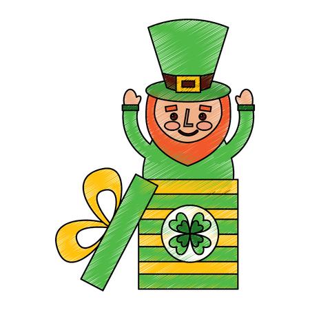 cute leprechaun in gift box surprise celebration vector illustration drawing image