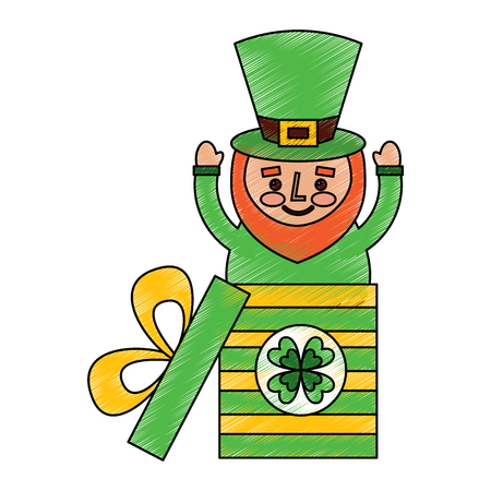 cute leprechaun in gift box surprise celebration vector illustration drawing image