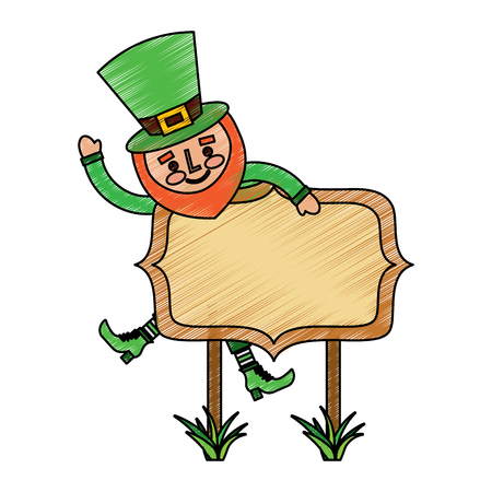 leprechaun on wooden board happy character vector illustration drawing image