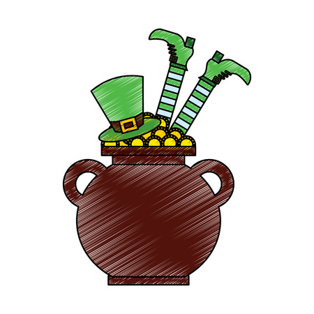 cauldron treasure with hat and leg of leprechaun vector illustration drawing image Banque d'images - 95714374