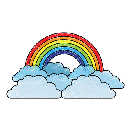 rainbow and cloud in the sky vector illustration drawing image Ilustração