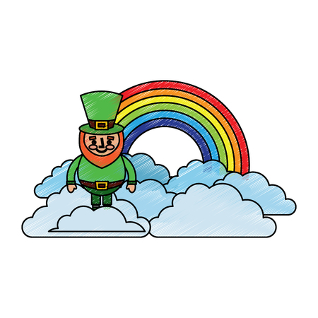 standing cartoon leprechaun on cloud rainbow vector illustration drawing image Illustration