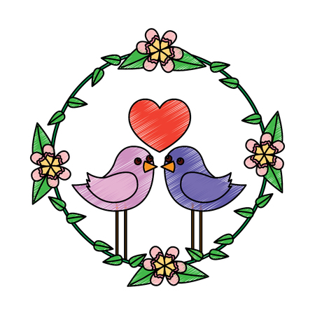 two happy cute bird in love with the heart in floral wreath vector illustration drawing image