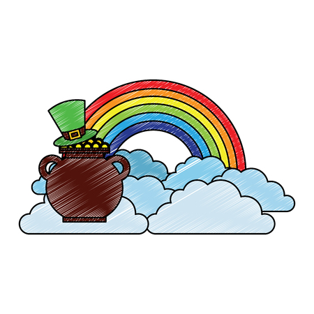 hat of leprechaun with pot coins treasure rainbow cloud fantasy vector illustration drawing image Banque d'images - 95714379