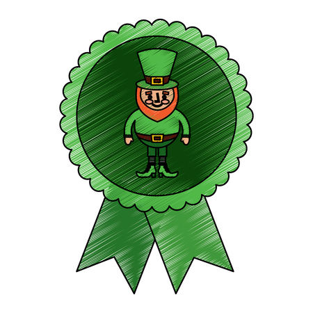 rosette badge with leprechaun st patricks cartoon vector illustration drawing image