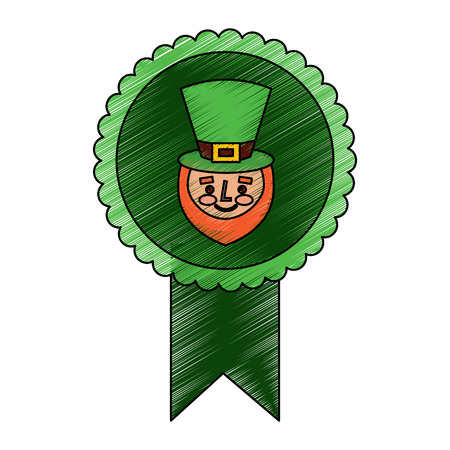rosette badge with face leprechaun character vector illustration drawing image