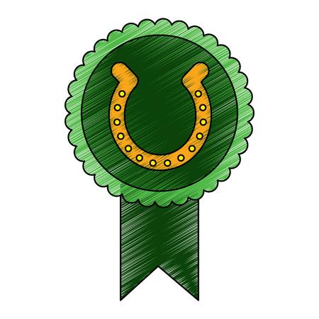 Rosette Abzeichen mit Hufeisen Glück Emblem Vektor-Illustration Zeichnung Bild Standard-Bild - 95713416