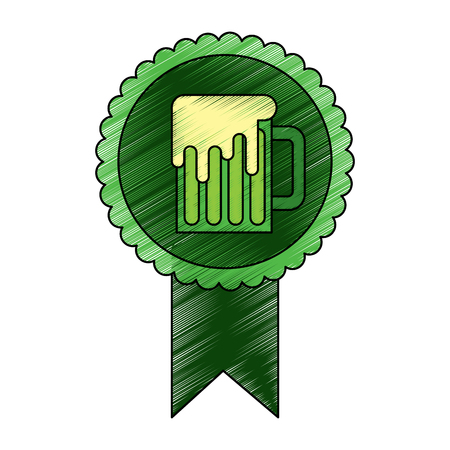 rosette badge with beer glass foamy drink vector illustration drawing image