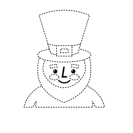 leprechaun st patricks day cartoon character portrait vector illustration dotted line image Illustration