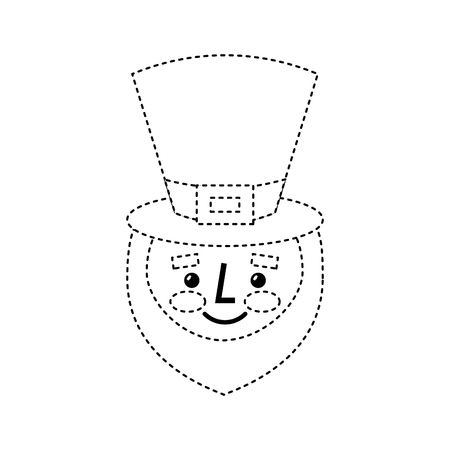 leprechaun face with red beard green hat for st. patricks day vector illustration dotted line image Banque d'images - 95714387