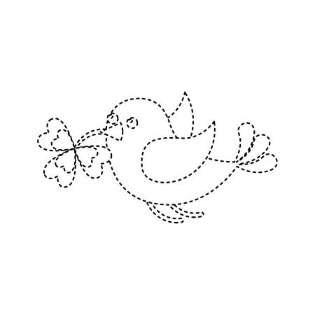 bird flying with clover in beak vector illustration dotted line image Ilustração