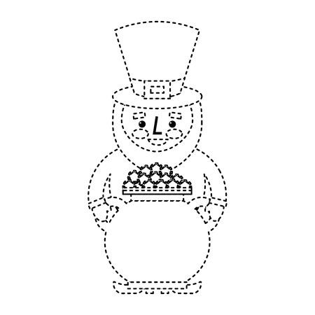 st patrick leprechaun holding pot full coins treasure vector illustration dotted line image 일러스트