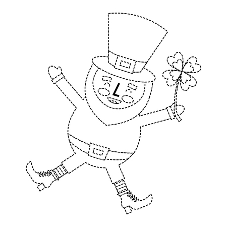 happy leprechaun jumping holding clover in hand vector illustration dotted line image