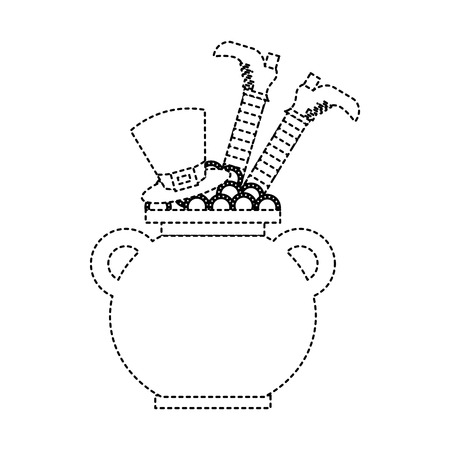 cauldron treasure with hat and leg of leprechaun vector illustration dotted line image Banque d'images - 95714488