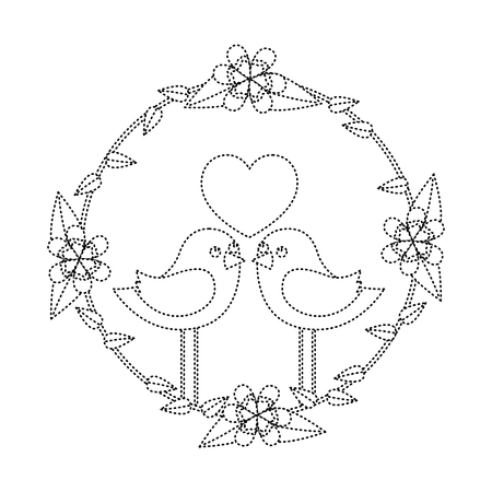 two happy cute bird in love with the heart in floral wreath vector illustration dotted line image Illustration