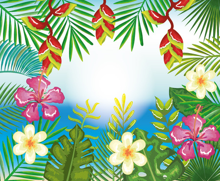 Tropical and exotics flowers and leaves over beach background vector illustration design Reklamní fotografie - 95735147