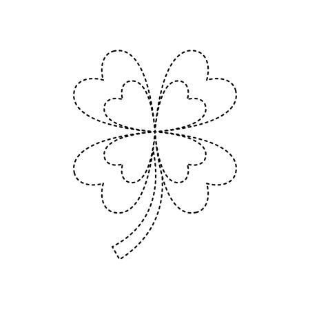 four leaf clover good luck symbol vector illustration dotted line image Illustration