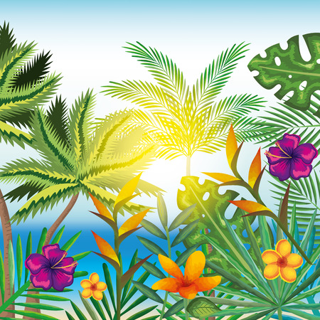 Tropical and exotics flowers and leaves over beach background vector illustration design
