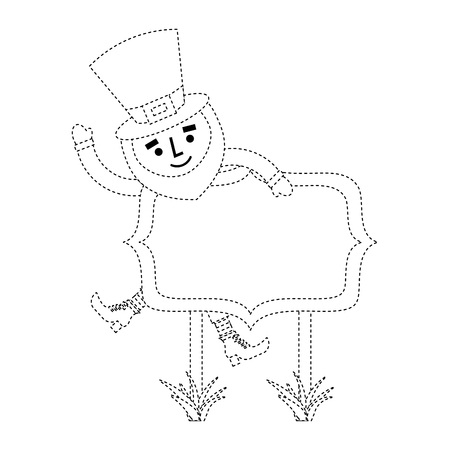 leprechaun on wooden board happy character vector illustration dotted line image