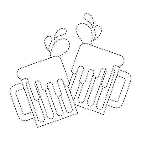 tostado vasos de cerveza vítores bebida espumosa gotas ilustración vectorial imagen de línea punteada