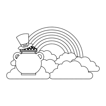 hat of leprechaun with pot coins treasure rainbow cloud fantasy vector illustration dotted line image Banque d'images - 95717492