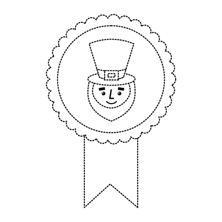 rosette badge with face leprechaun character vector illustration dotted line image Vettoriali