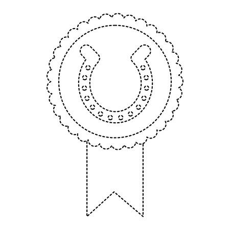 Rosette Abzeichen mit Hufeisen Glück Emblem Vektor-Illustration gepunktete Linie Bild Standard-Bild - 95713429