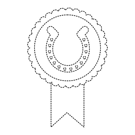 rosette badge with horseshoe luck emblem vector illustration dotted line image