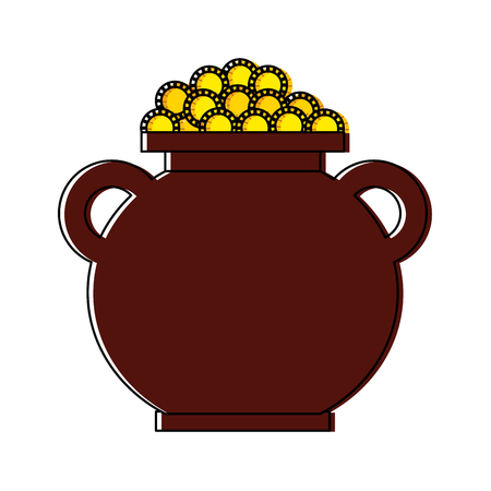 cauldron full coins money treasure fortune vector illustration