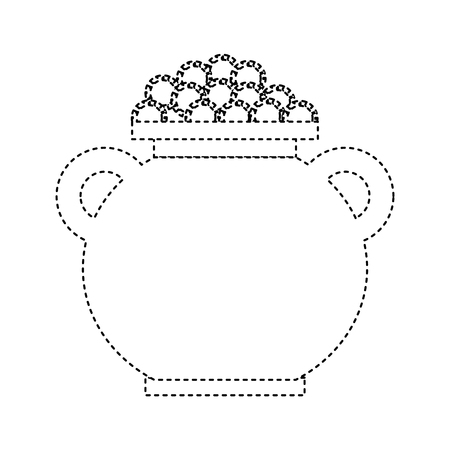 cauldron full coins money treasure fortune vector illustration dotted line image
