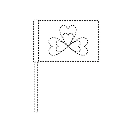 flag in the pole with clover festival st patricks symbol vector illustration dotted line image