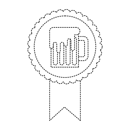 rosette badge with beer glass foamy drink vector illustration dotted line image