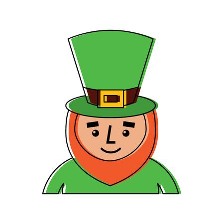leprechaun st patricks day cartoon character portrait vector illustration