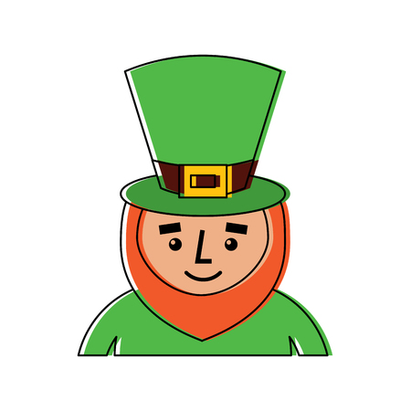 leprechaun st patricks day cartoon character portrait vector illustration