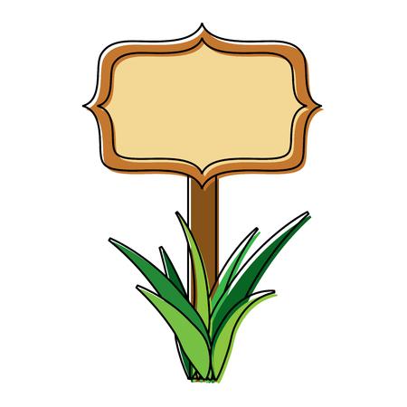 wooden board on a grass empty vector illustration Illustration