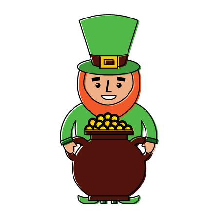 st patrick leprechaun holding pot full coins treasure vector illustration Ilustrace