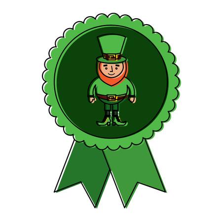 rosette badge with leprechaun st patricks cartoon vector illustration