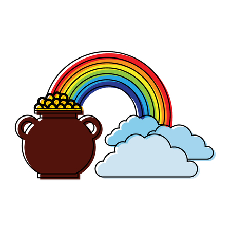 cauldron coins treasure rainbow clouds fantasy vector illustration Illustration