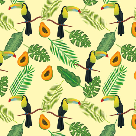 Tropical and exotics flowers with toucan and papaya vector illustration design Illustration