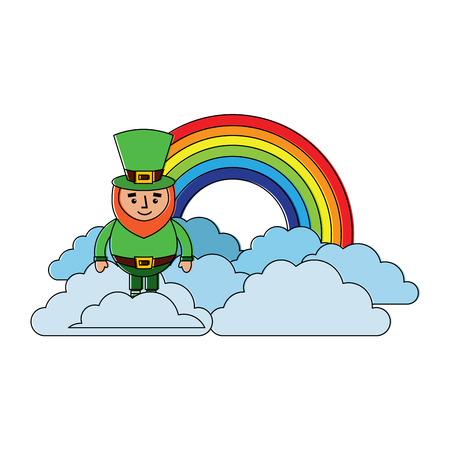 standing cartoon leprechaun on cloud rainbow vector illustration Illustration