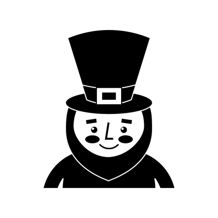 leprechaun st patricks day cartoon character portrait vector illustration black and white image