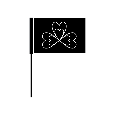 flag in the pole with clover festival st patricks symbol vector illustration black and white image