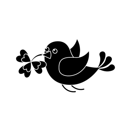 bird flying with clover in beak vector illustration black and white image