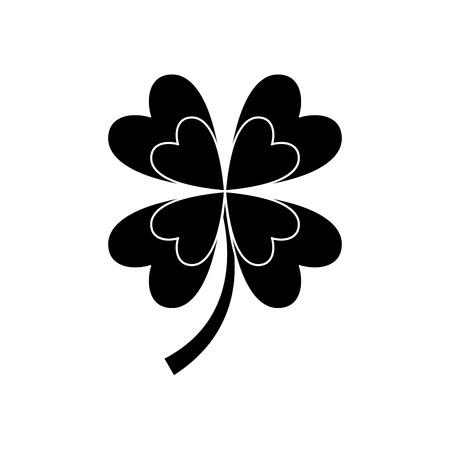 four leaf clover good luck symbol vector illustration black and white image