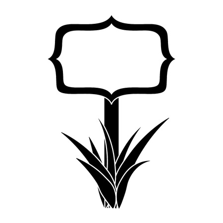 wooden board on a grass empty vector illustration black and white image