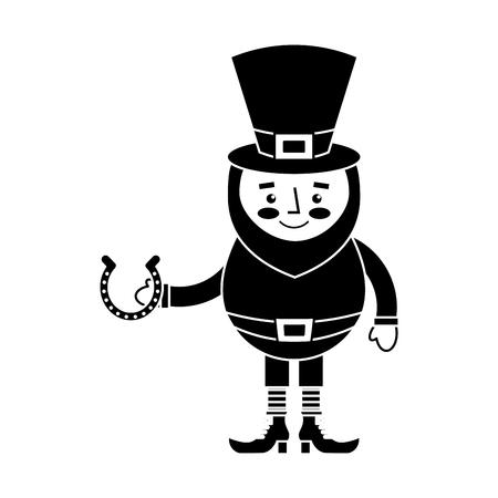 leprechaun holding horseshoe for luck traditional vector illustration black and white image