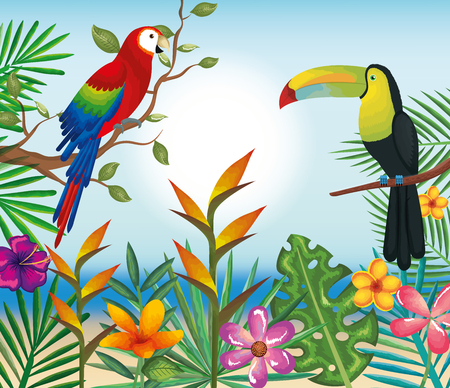 Tropical and exotics flowers with toucan and parrot vector illustration design Ilustrace